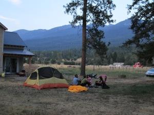 camping at the farm