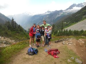 Family hiking at Cascade pass